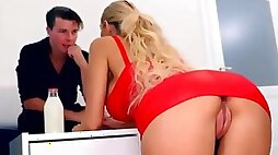 Florane Russell isnt wearing panties beneath her miniskirt dress as she seduces her man with big tits and a hot fuck