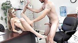 Skinny milf fucked hard in the office