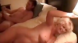Cuckold MILF videotaped by her sissy husband with hired fuck