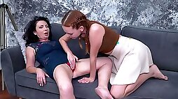 Teen Candy Red and Helen He have passionate lesbian sex