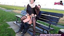 Old german brunette granny get outdoor cumshot on big tits after sex