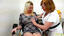Old gynecologist and mature nurse Trisha examine pussy of one BBW patient