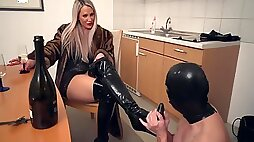 Charming Lady In A Fur Coat Caught Slaves For Punishment