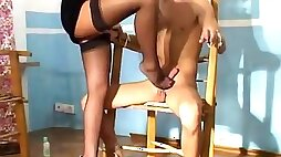 Blindfold tied up sub gets gagged sucked & a femdom cock riding