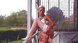 Nymphomaniac Nurse In White Stockings Gets Slobber Cunnilingus