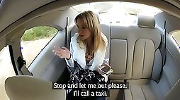 Lewd blonde gives a blowjob and gets fucked by a taxi driver