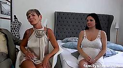 Knocked up Maid watching Family smash