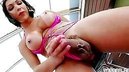 Chinese she-creature assjob with money-shot