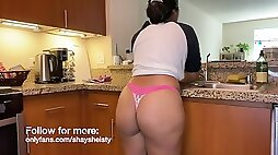 Man with big cock fuck his Arab wife in the kitchen