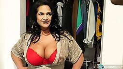American stud is lucky to fuck super-busty Latina MILF