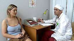 Cute Chubby Girl Meets Burly Doctor With Hairy Belly And Short Dick