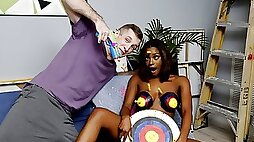 With her big natural tits topped by big brown puffy nipples, ebony teen Lola Chanels boobs are already a perfect set of targets for jizz, and Brick Danger helps them out by painting them with actual bulls-eyes