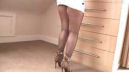 Granny  in tight dress and crotchless pantyhose