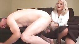 Chastity slave prostate milked while locked up with estim