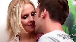 Buxom stepmom Julia Ann rendering first aid to steamy son