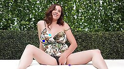 Hot Redhead Banged On The Outside Sofa