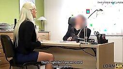 Loan4k. busty blonda blanche gives herself to loan agent in