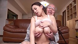 Old and young hardcore with cute Japanese babe and lucky grandpa - 織田真子