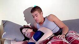 Stepson fucks inked stepmother lying near his sleeping wife