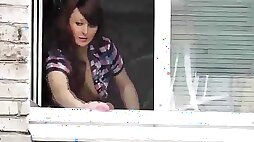 Bare mom washes window son spies on mommy. nude in public. stagging hidden cam