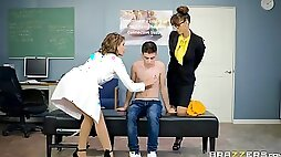 A young guy fucking two hot milfs in the school nurse office.
