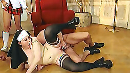 Stunning blonde college girl rammed while eating a nun