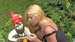 Naughty blonde shemale exposes tiny tits and penis