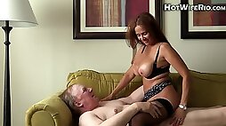 Cum thirsty MILF fucks chubby old man on the couch