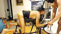 Boinking and deep-throating on bondage table