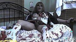 Zombie Shemale Schoolgirl Tied in Bed Jerking Off Her Massive Cock
