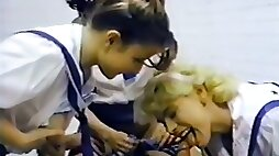 Three horny babes fucked with police officer in the classroom