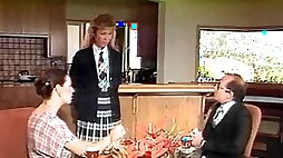 Blonde in miniskirt moaning when cherished missionary