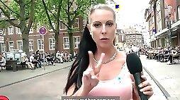 Whore brunette dicked by random stranger she casted at the street