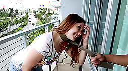 Submissive Rose Red tied up & rough fucked