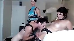 Horny Shemale & Female Fuck their Slave