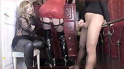 Sissy guided to eat cum