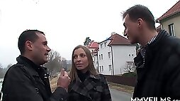 Stunning Czech babe is picked up on the street for threesome