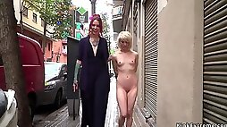 Petite blond hair girl slit fisted in public