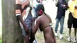 Black hookers make money on a day at the public park
