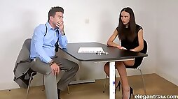 Leggy Nataly Gold gets brutally fucked hard enough during police questioning