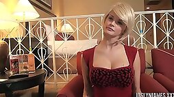 Sexy blonde chick in fishnets rides his dick before a blowjob