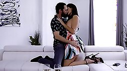 Erotic oral play after a few drinks leads this elegant woman to insane fucking