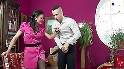European dame dressed for pleasure has fully clothed sex