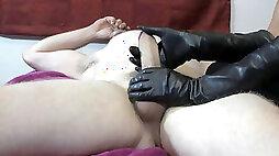 Goddess XTC cigar hj with lengthy leather gloves
