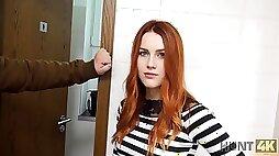 VIP4K. Hunter fucks gorgeous redhead in the public restroom