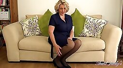 Mature blonde woman, Auntie Camilla likes to spread up wide and play with her wet pussy