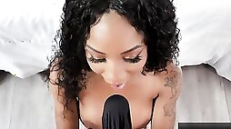 Ebony sweetheart was asked to demonstrate her best oral skills on a nude audition
