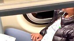 Big ebony spandex cameltoe on train