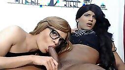 Ebony Crossdresser Face Copulating Nerdy Tranny