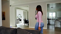Cute ebony gal Halle Hayes gets caught watching porn during her babysitting job